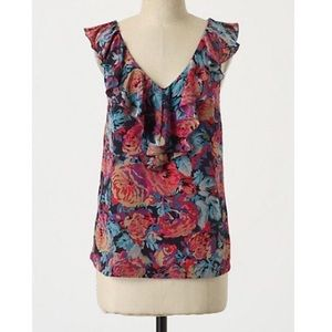 🆕 Anthropologie Silk Abstract Floral Shell Size 6